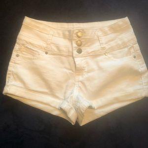 High Rise White Shorts